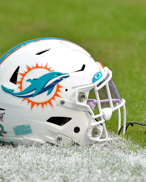 Nov 3, 2019; Miami Gardens, FL, USA; Miami Dolphins running back Mark Walton (22) helmet is seen before a game against the New York Jets at Hard Rock Stadium.