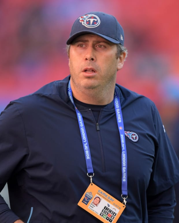Tennessee Titans tight ends coach Arthur Smith reacts during an NFL International Series game against the Los Angeles Chargers at Wembley Stadium. The Chargers defeated the Titans 20-19.