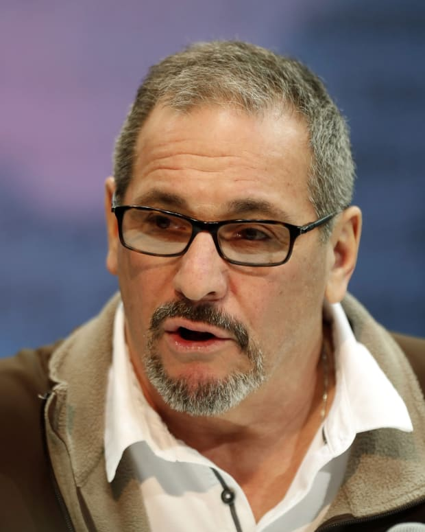 Feb 27, 2019; Indianapolis, IN, USA; New York Giants general manager Dave Gettleman speaks to the media during the 2019 NFL Combine at the Indianapolis Convention Center.