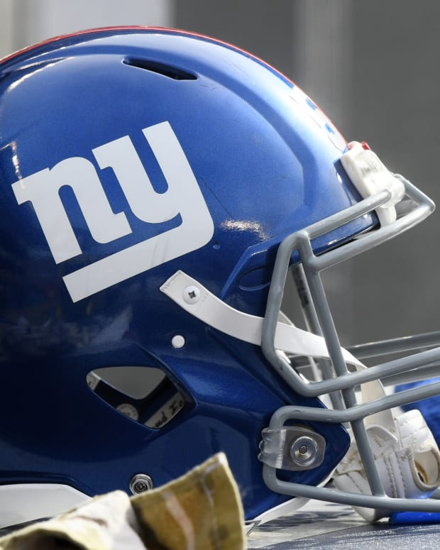 Nov 24, 2019; Chicago, IL, USA; A detailed view of the New York Giants helmet during the second half against the Chicago Bears at Soldier Field. Mandatory Credit: Mike DiNovo-USA TODAY Sports