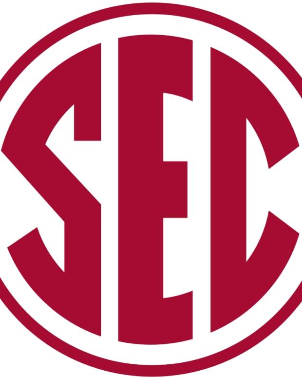SEC logo crimson
