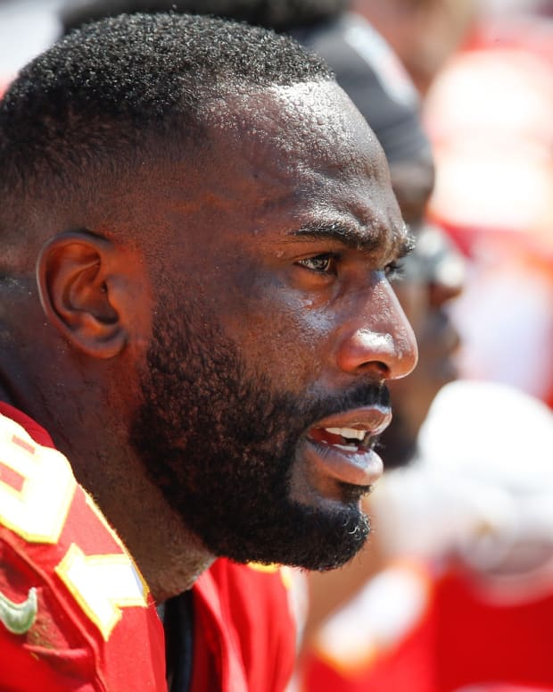 Sep 8, 2019; Jacksonville, FL, USA; Kansas City Chiefs defensive end Alex Okafor (97) on the bench during the second half against the Jacksonville Jaguars at TIAA Bank Field. Mandatory Credit: Reinhold Matay-USA TODAY Sports