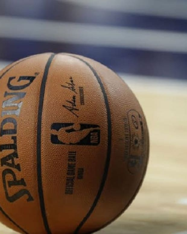 A general view of the ball used for a game between the Milwaukee Bucks and Brooklyn Nets.