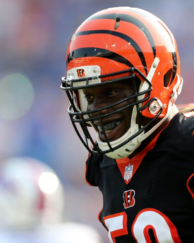 Cincinnati Bengals defensive end Carl Lawson (58) smiles after a sack in the second quarter during the Week 3 NFL preseason game between the Cincinnati Bengals and the Buffalo Bills, Sunday, Aug. 26, 2018, at New Era Stadium in Orchard Park, New York. Cincinnati Bengals At Buffalo Bills Preseason Game Aug 26