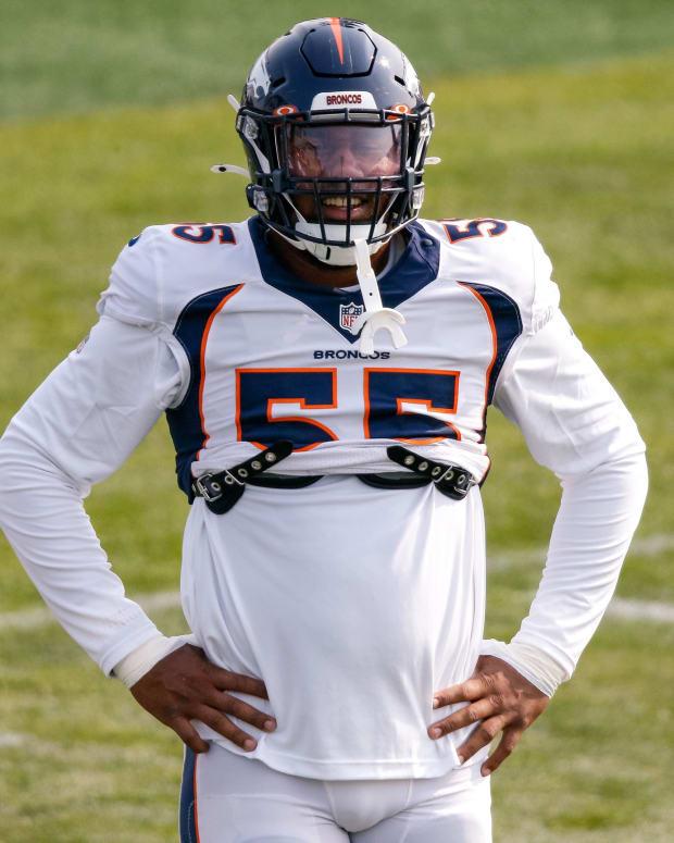Denver Broncos linebacker Bradley Chubb (55) during training camp at the UCHealth Training Center.