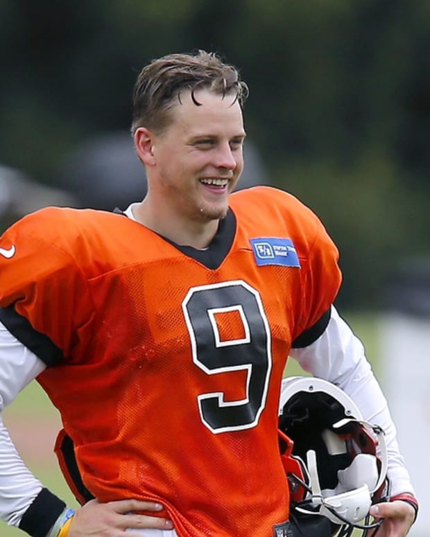 Aug 27, 2020; Cincinnati, Ohio, USA; Cincinnati Bengals quarterback Joe Burrow(9) during training camp at the teams practice facility. Mandatory Credit: Joseph Maiorana-USA TODAY Sports