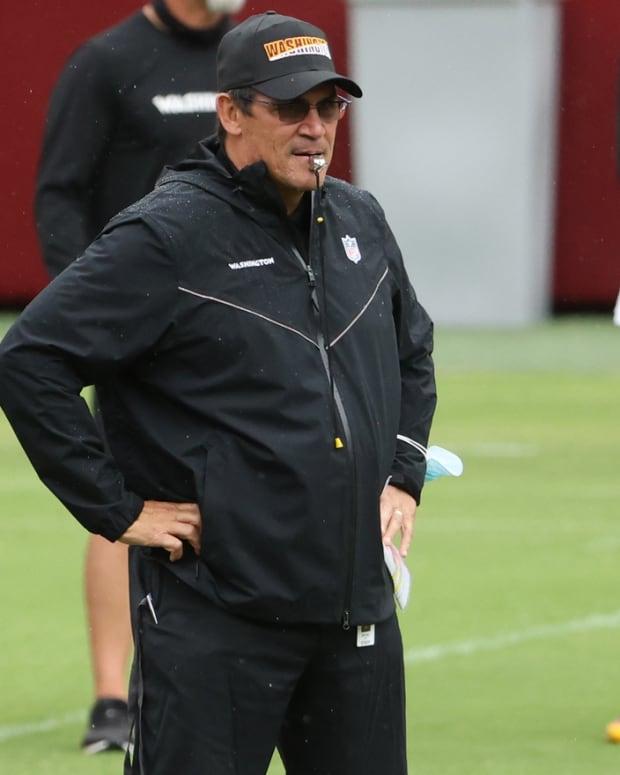Ron Rivera Whistle FEF © Geoff Burke-USA TODAY Sports