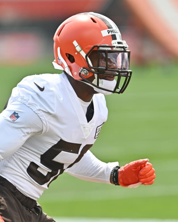Aug 14, 2020; Berea, Ohio, USA; Cleveland Browns linebacker Jacob Phillips (50) runs a drill during training camp at the Cleveland Browns training facility. Mandatory Credit: Ken Blaze-USA TODAY Sports
