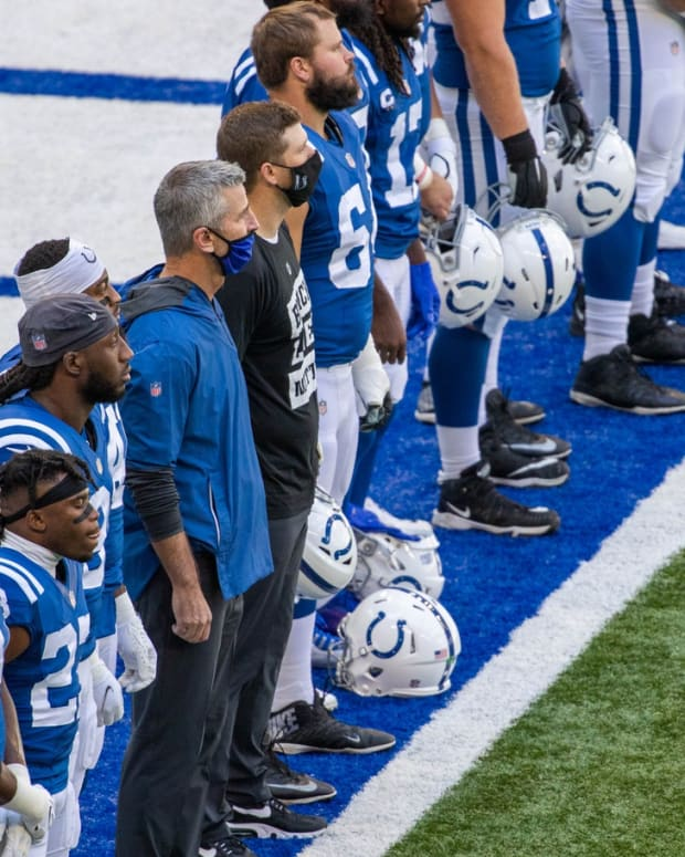 Indianapolis Colts head coach Frank Reich (blue jacket) wore a different mask for a Week 2 home game against Minnesota at Lucas Oil Stadium.