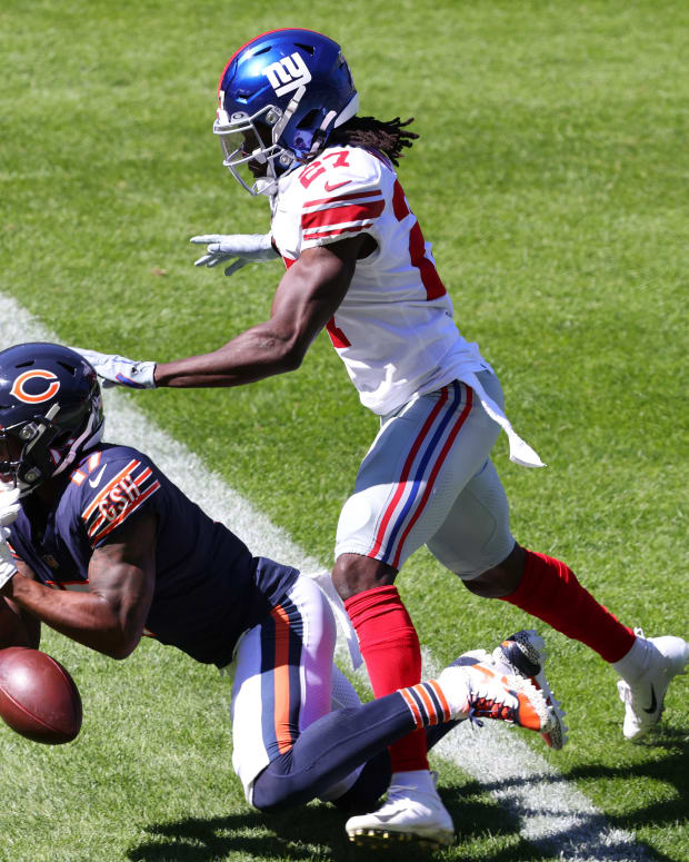 Sep 20, 2020; Chicago, Illinois, USA; Chicago Bears wide receiver Anthony Miller (17) attempts to make a catch against New York Giants cornerback Isaac Yiadom (27) during the first quarter at Soldier Field.