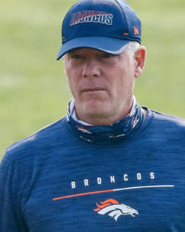 Denver Broncos offensive coordinator Pat Shurmur during training camp at the UCHealth Training Center.