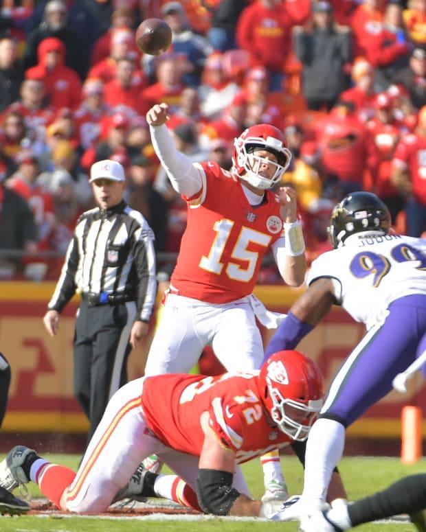Dec 9, 2018; Kansas City, MO, USA; Kansas City Chiefs quarterback Patrick Mahomes (15) throws a pass during the first half against the Baltimore Ravens at Arrowhead Stadium. Mandatory Credit: Denny Medley-USA TODAY Sports