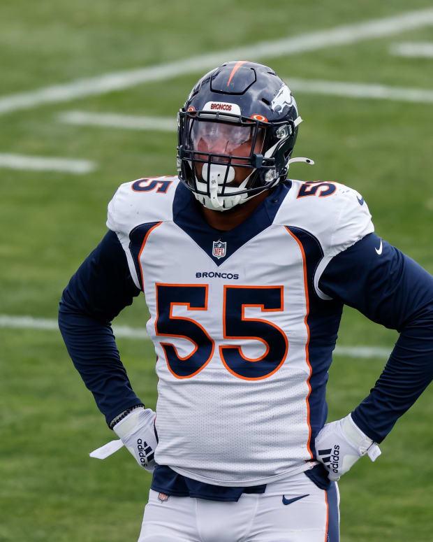 Denver Broncos linebacker Bradley Chubb (55) during practice at UCHealth Training Center.