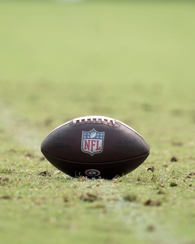Aug 18, 2020; Thousand Oaks California, USA; A general view of a NFL official Wilson Duke football with metallic shield lgoo introduced for the 2020 season at Los Angeles Rams training camp at Cal Lutheran University.