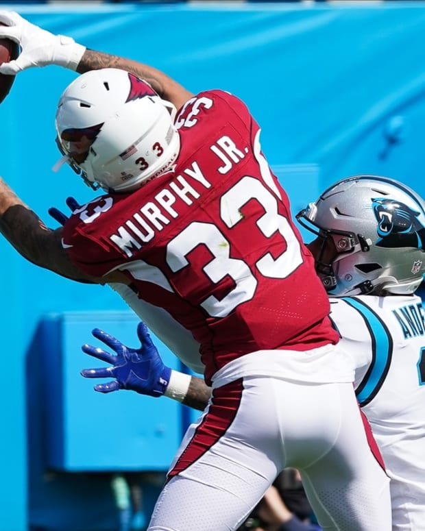 Arizona Cardinals cornerback Byron Murphy (33) battles for a pass against Carolina Panthers wide receiver Robby Anderson (11) in the end zone during the first quarter at Bank of America Stadium.