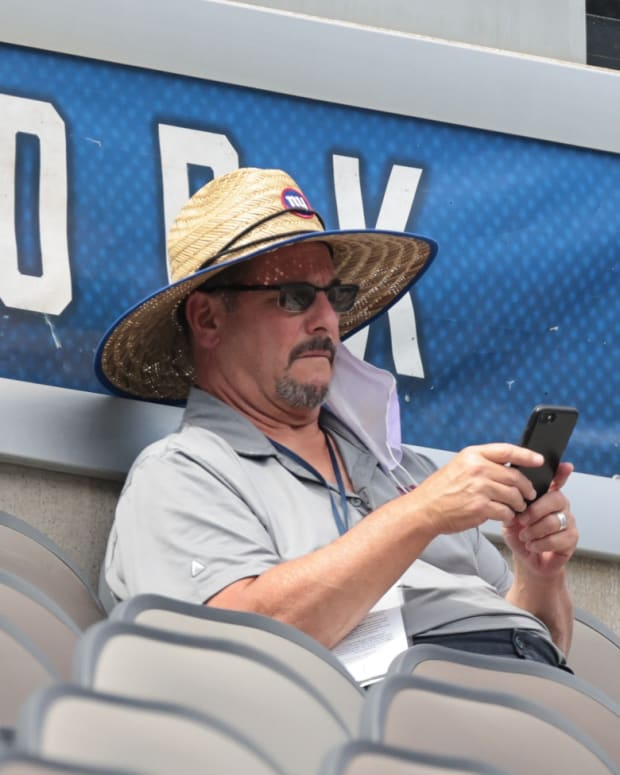 Sep 3, 2020; East Rutherford, New Jersey, USA; New York Giants general manager Dave Gettleman during the Blue-White Scrimmage at MetLife Stadium.