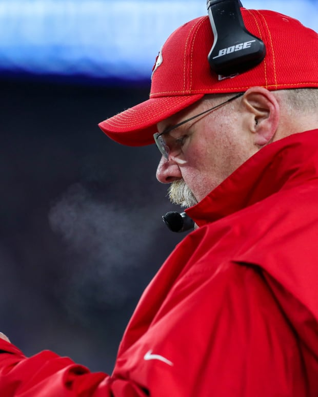 Dec 8, 2019; Foxborough, MA, USA; Kansas City Chiefs head coach Andy Reid reacts during the first half against the New England Patriots at Gillette Stadium. Mandatory Credit: Paul Rutherford-USA TODAY Sports