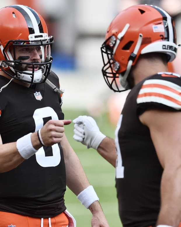 Oct 11, 2020; Cleveland, Ohio, USA; Cleveland Browns quarterback Baker Mayfield (6) fist bumps running back Andy Janovich (31) before the game between the Cleveland Browns and the Indianapolis Colts at FirstEnergy Stadium. Mandatory Credit: Ken Blaze-USA TODAY Sports