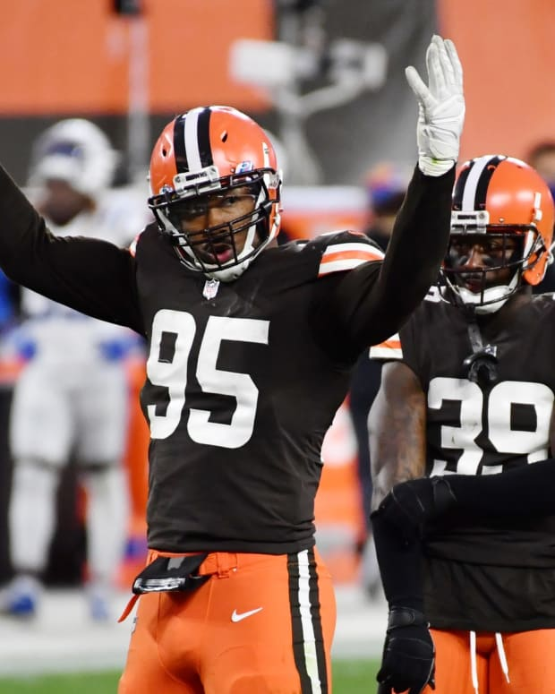 Oct 11, 2020; Cleveland, Ohio, USA; Cleveland Browns defensive end Myles Garrett (95) riles up the crowd during the second half against the Indianapolis Colts at FirstEnergy Stadium. Mandatory Credit: Ken Blaze-USA TODAY Sports