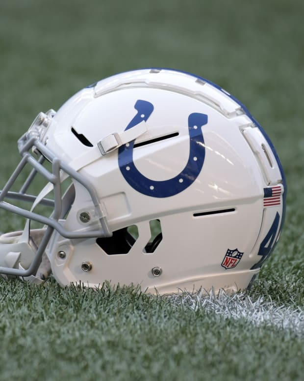 An Indianapolis Colts helmet during warm-ups before a recent game.
