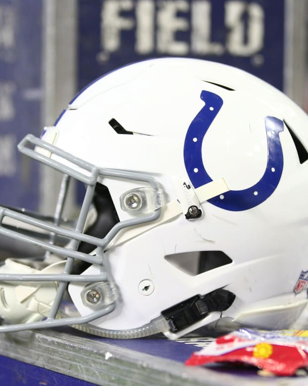 An Indianapolis Colts helmet on the sideline during a game.