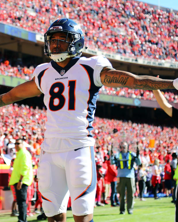 Denver Broncos wide receiver Tim Patrick (81) celebrates after scoring a touchdown against the Kansas City Chiefs in the first half at Arrowhead Stadium.