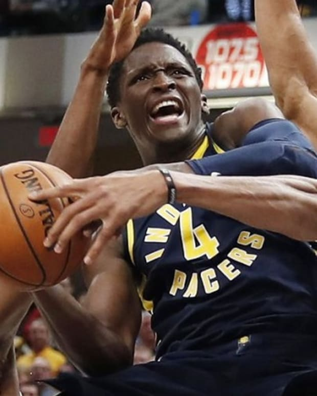 Indiana Pacers shooting guard Victor Oladipo drives to the basket vs. the Milwaukee Bucks.
