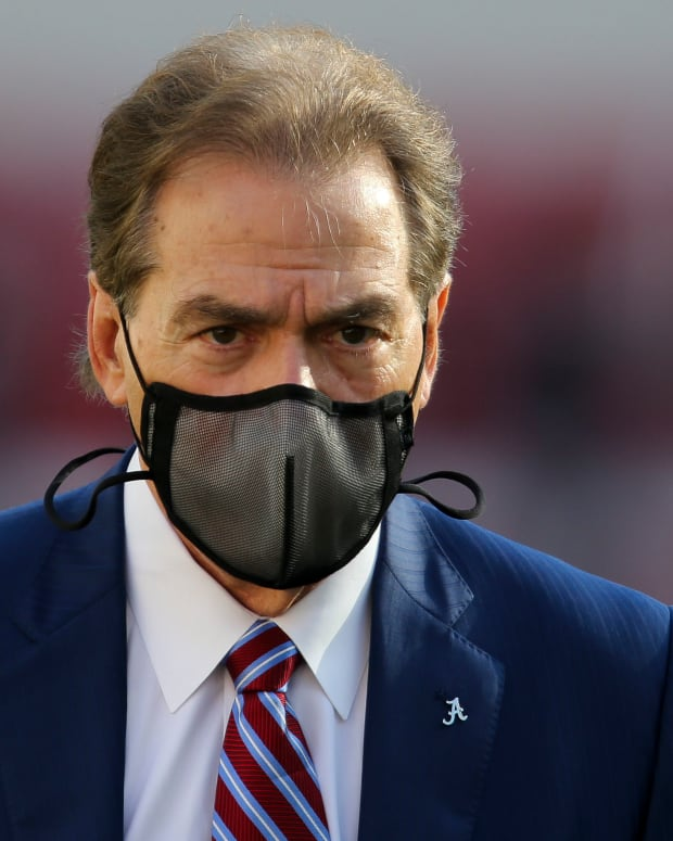 Nick Saban with mask