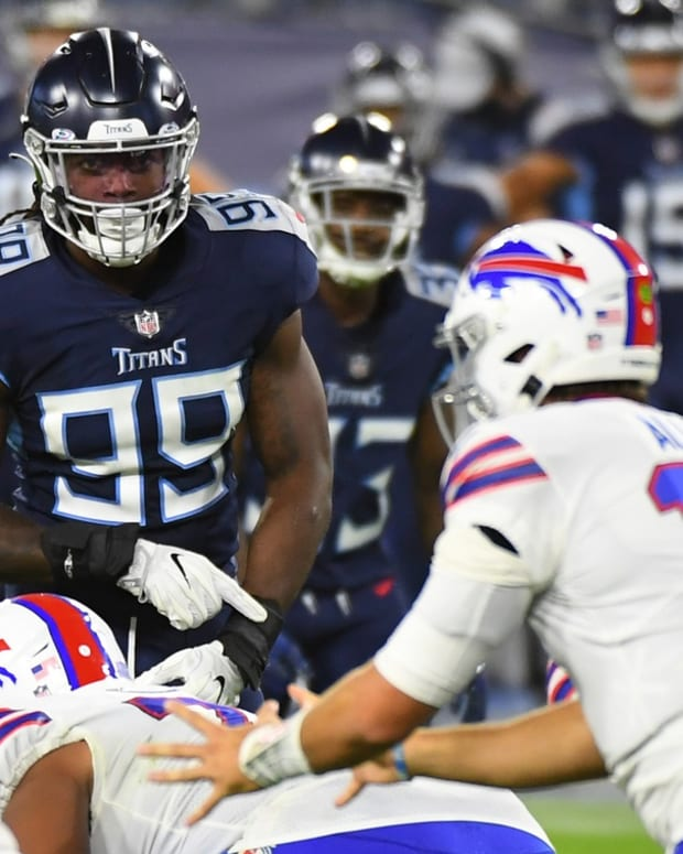 Tennessee Titans outside linebacker Jadeveon Clowney (99) waits to rush Buffalo Bills quarterback Josh Allen (17) during the first half at Nissan Stadium.