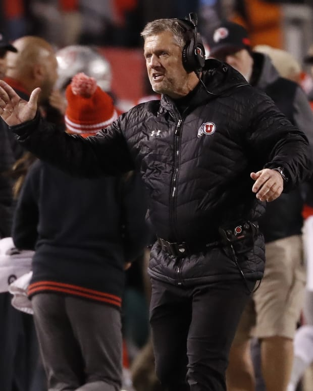 Nov 30, 2019; Salt Lake City, UT, USA; Utah Utes head coach Kyle Whittingham celebrates after a third quarter touchdown against the Colorado Buffaloes at Rice-Eccles Stadium.