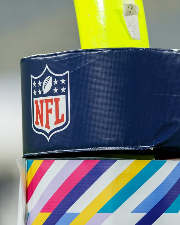 Oct 5, 2020; Green Bay, Wisconsin, USA; NFL logo on goalpost padding during the game between the Atlanta Falcons and Green Bay Packers at Lambeau Field. Mandatory Credit: Jeff Hanisch-USA TODAY Sports