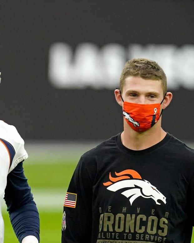 Denver Broncos quarterback Drew Lock (3) prior to a game against the Las Vegas Raiders at Allegiant Stadium.