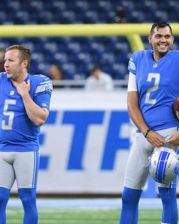 Aug 17, 2018; Detroit, MI, USA; Detroit Lions kicker Matt Prater (5) and punter Ryan Santoso (2) looks on before a game against the New York Giants at Ford Field.