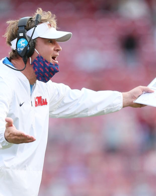 Ole Miss Rebels head coach Lane Kiffin reacts to a call during the fourth quarter against the Arkansas Razorbacks at Donald W. Reynolds Razorback Stadium. Arkansa won 33-21. Mandatory Credit: Nelson Chenault-USA TODAY Sports
