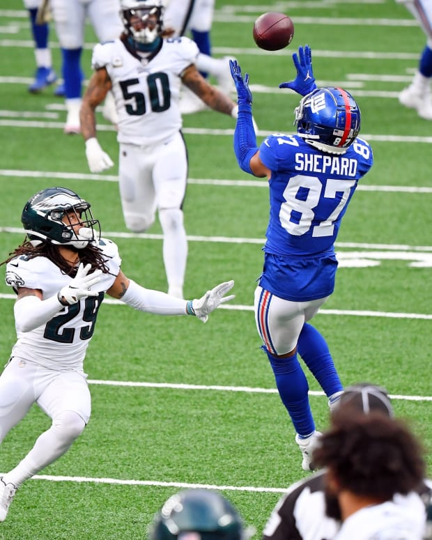 Avonte Maddox tries to defend a pass against New York's Sterling Shepard