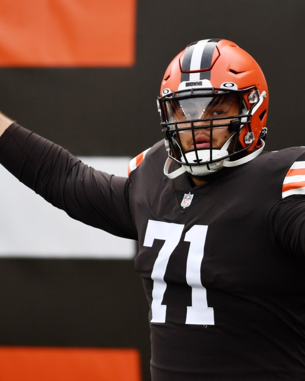 Oct 11, 2020; Cleveland, Ohio, USA; Cleveland Browns offensive tackle Jedrick Wills (71) is introduced before the game between the Cleveland Browns and the Indianapolis Colts at FirstEnergy Stadium. Mandatory Credit: Ken Blaze-USA TODAY Sports