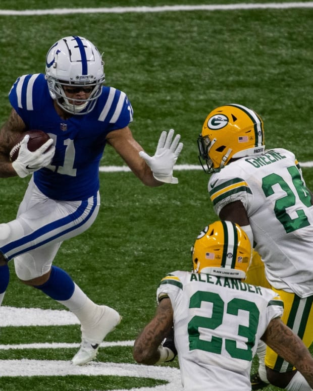 Indianapolis Colts rookie wide receiver Michael Pittman Jr. looks to run after a catch in Sunday's home win over the Green Bay Packers.