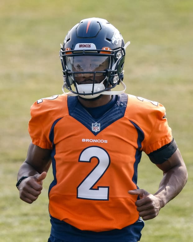 Denver Broncos wide receiver Kendall Hinton (2) during training camp at the UCHealth Training Center.