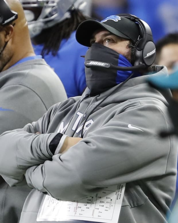 Nov 26, 2020; Detroit, Michigan, USA; Detroit Lions head coach Matt Patricia looks up during the second quarter against the Houston Texans at Ford Field. Mandatory Credit: Raj Mehta-USA TODAY Sports