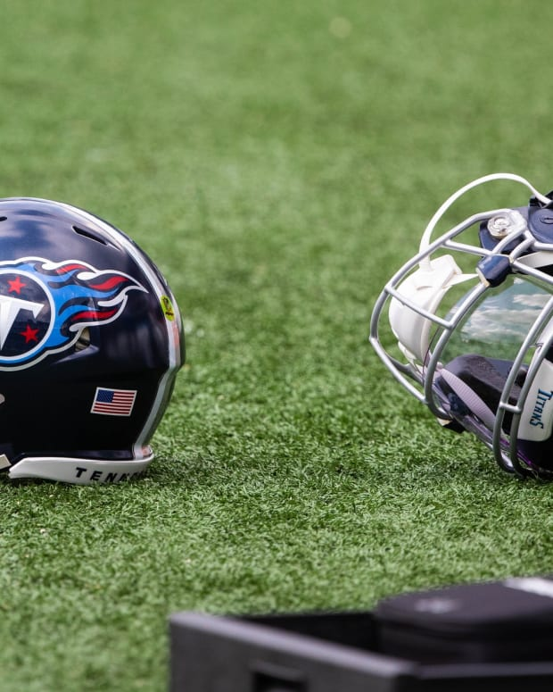 Tennessee Titans helmets on the field before a game against the Philadelphia Eagles at Lincoln Financial Field.
