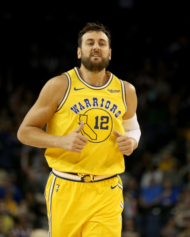 Mar 21, 2019; Oakland, CA, USA; Golden State Warriors center Andrew Bogut (12) jogs down court against the Indiana Pacers in the fourth quarter at Oracle Arena.
