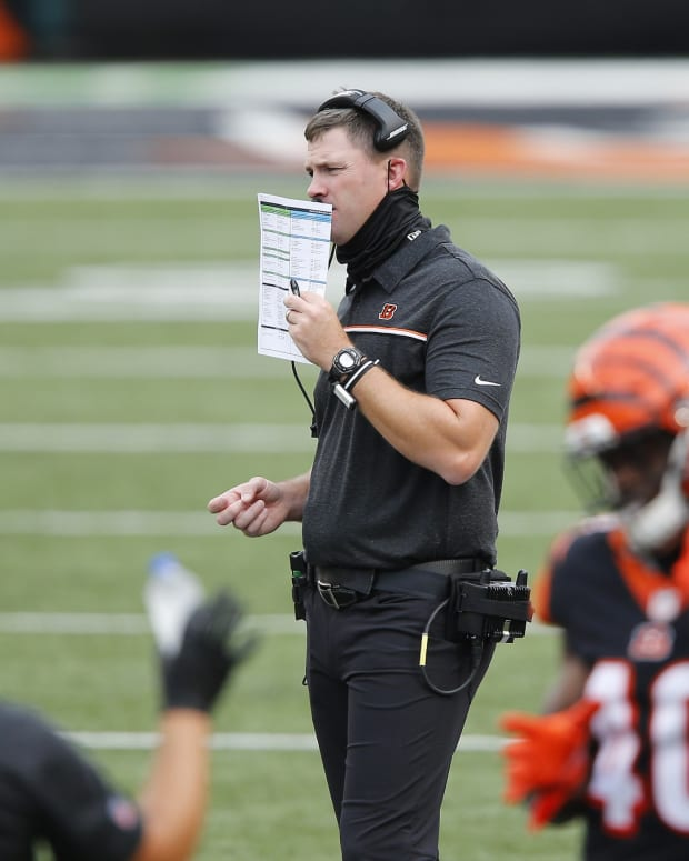 Sep 13, 2020; Cincinnati, Ohio, USA; Cincinnati Bengals head coach Zac Taylor during the second quarter against the Los Angeles Chargers at Paul Brown Stadium. Mandatory Credit: Joseph Maiorana-USA TODAY Sports
