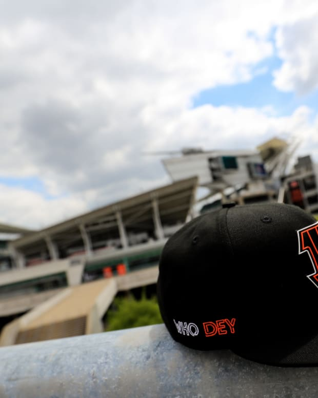 Apr 24, 2020; Cincinnati, Ohio, USA; A view of an official Cincinnati Bengals New Era 2020 NFL Draft hat outside Paul Brown Stadium. Mandatory Credit: Aaron Doster-USA TODAY Sports