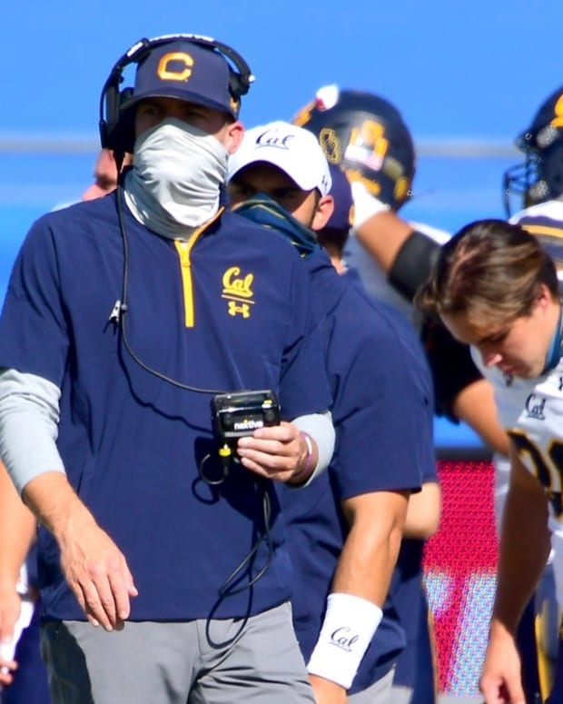 Cal coach Justin Wilcox on the sideline at the Rose Bowl
