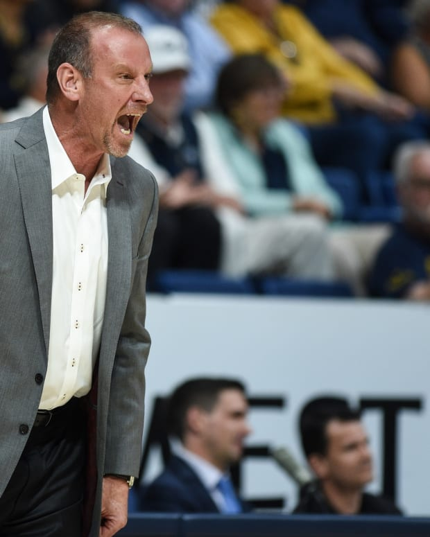Feb 29, 2020; Berkeley, California, USA; Utah Utes head coach Larry Krystkowiak during the first half against the California Golden Bears at Haas Pavilion.