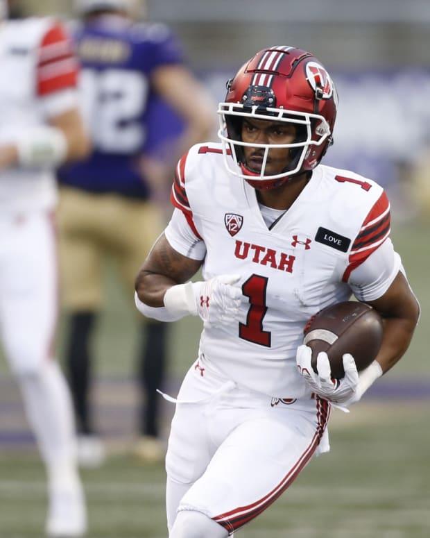 Nov 28, 2020; Seattle, Washington, USA; Utah Utes wide receiver Bryan Thompson (1) participates in pregame warmups against the Washington Huskies at Alaska Airlines Field at Husky Stadium.