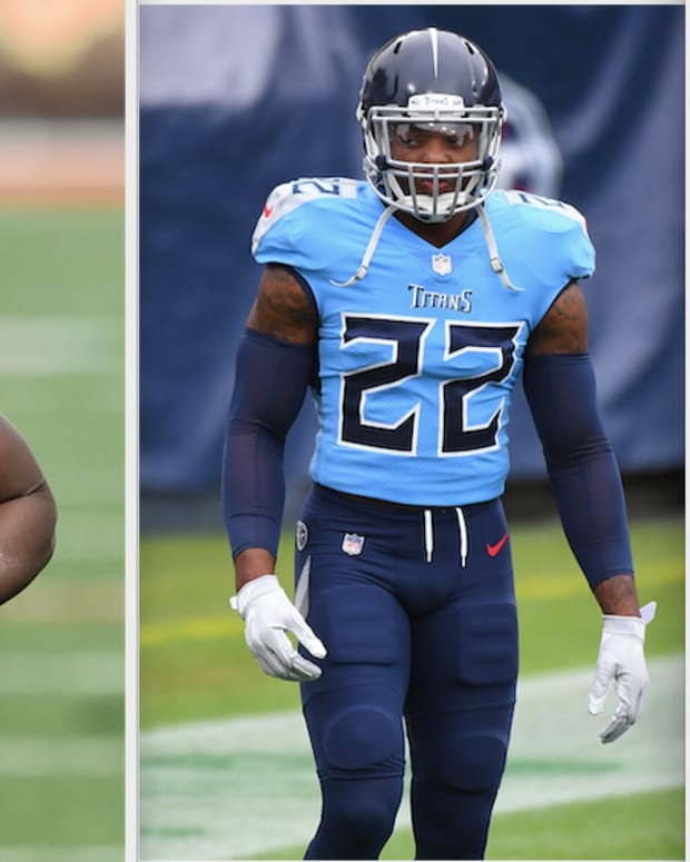 Tennessee Titans back Derrick Henry and Cleveland backs Kareem Hunt and Nick Chubb.