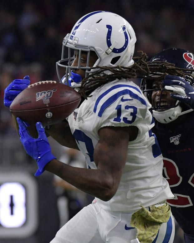 Indianapolis Colts wide receiver T.Y. Hilton makes a catch at Houston in a 2019 game.