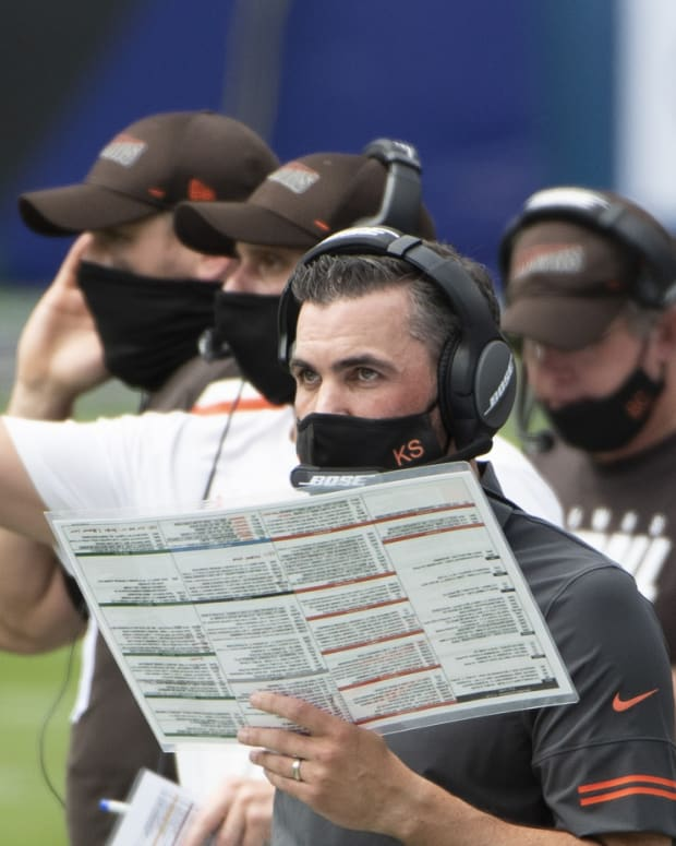 Cleveland Browns head coach Kevin Stefanski looks onto the field during the first half against the Baltimore Ravens at M&T Bank Stadium.
