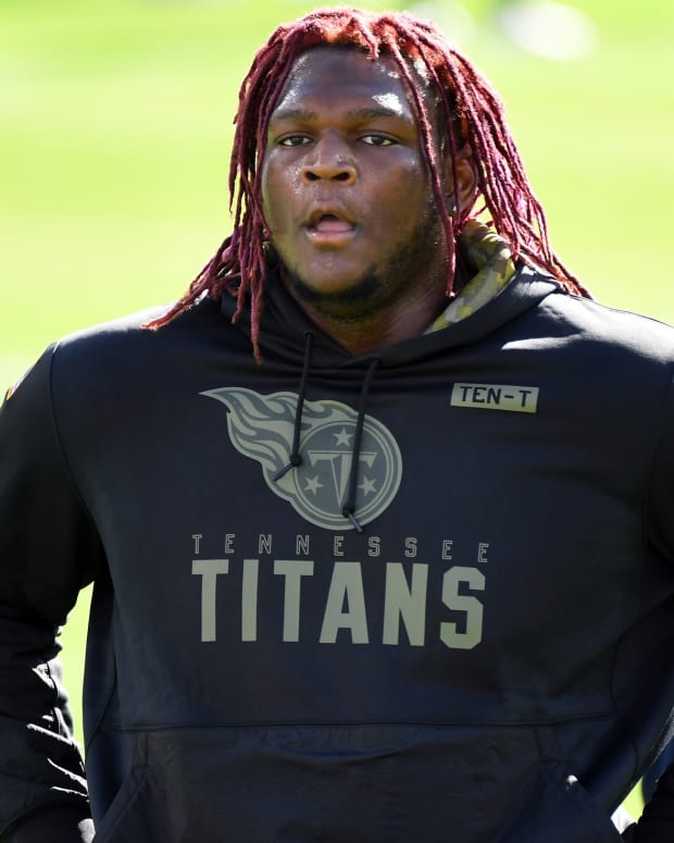 Tennessee Titans offensive tackle Isaiah Wilson (79) warms up before the game against the Chicago Bears at Nissan Stadium.